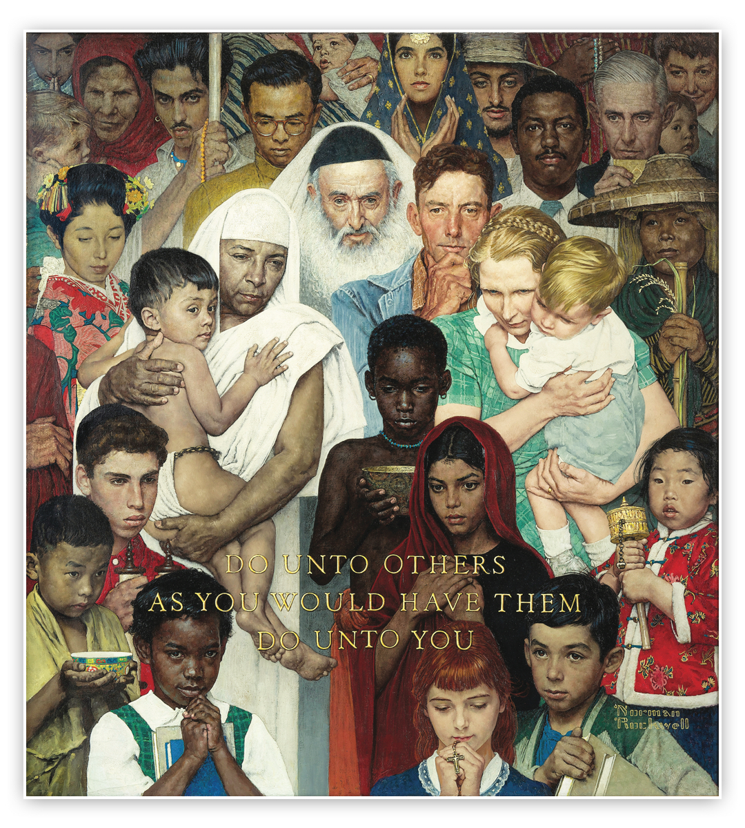 "painting of diverse group of people with words ""Do unto others as you would have them do unto you"""