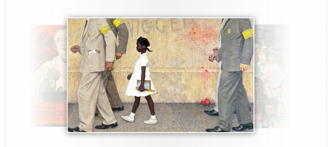 Painting of a young girl walking between adult men